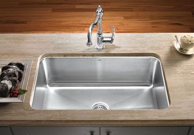 Large Single Kitchen Sink Installed In Counter Top Large Sin