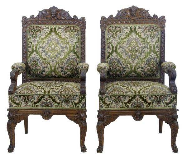 ~ Pair of 19th Century Carved Oak Armchairs ~ onlinegalleries.com