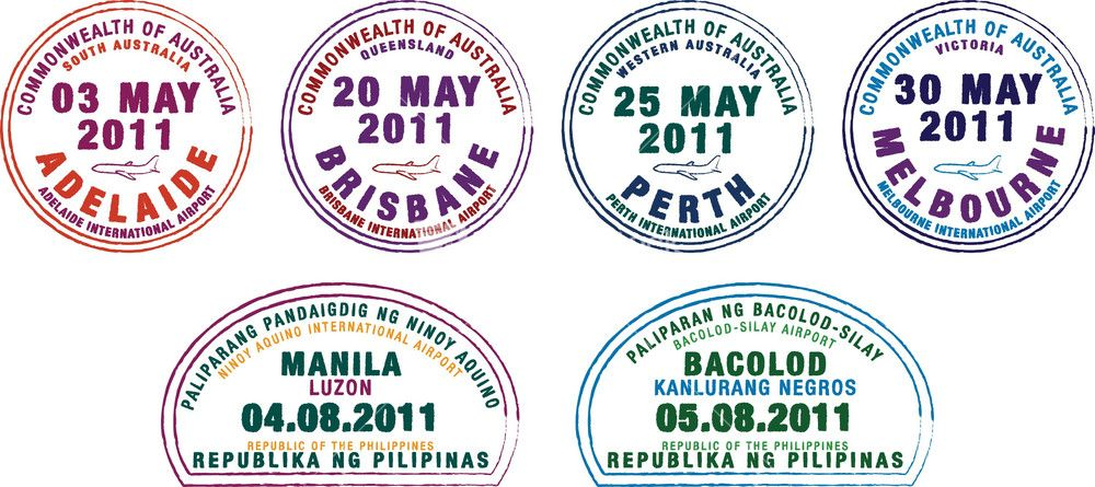 Passport Stamps From Australia And The Philippines In Vector Format