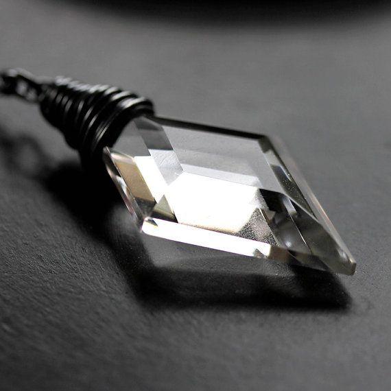 Rock+Quartz+Necklace+Faceted+Clear+Quartz+by+GlitzGlitter+on+Etsy,+$72.00