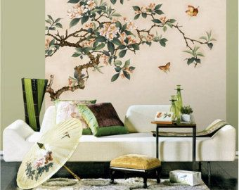Crabapple fiori Wallpaper Butterfly Wall Sticker Art camera da letto ...