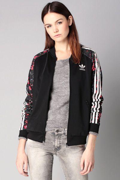 Veste sport zippée noire Superstar Adidas Originals sur MonShowroom ... a5e80637cef
