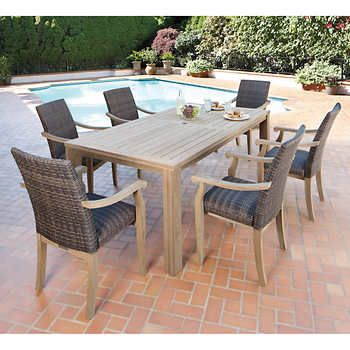 Hilo 100 Fsc Certified Teak 7 Piece Dining Set Costco Patio Furniture Outdoor Dining Spaces Dining Sets Modern
