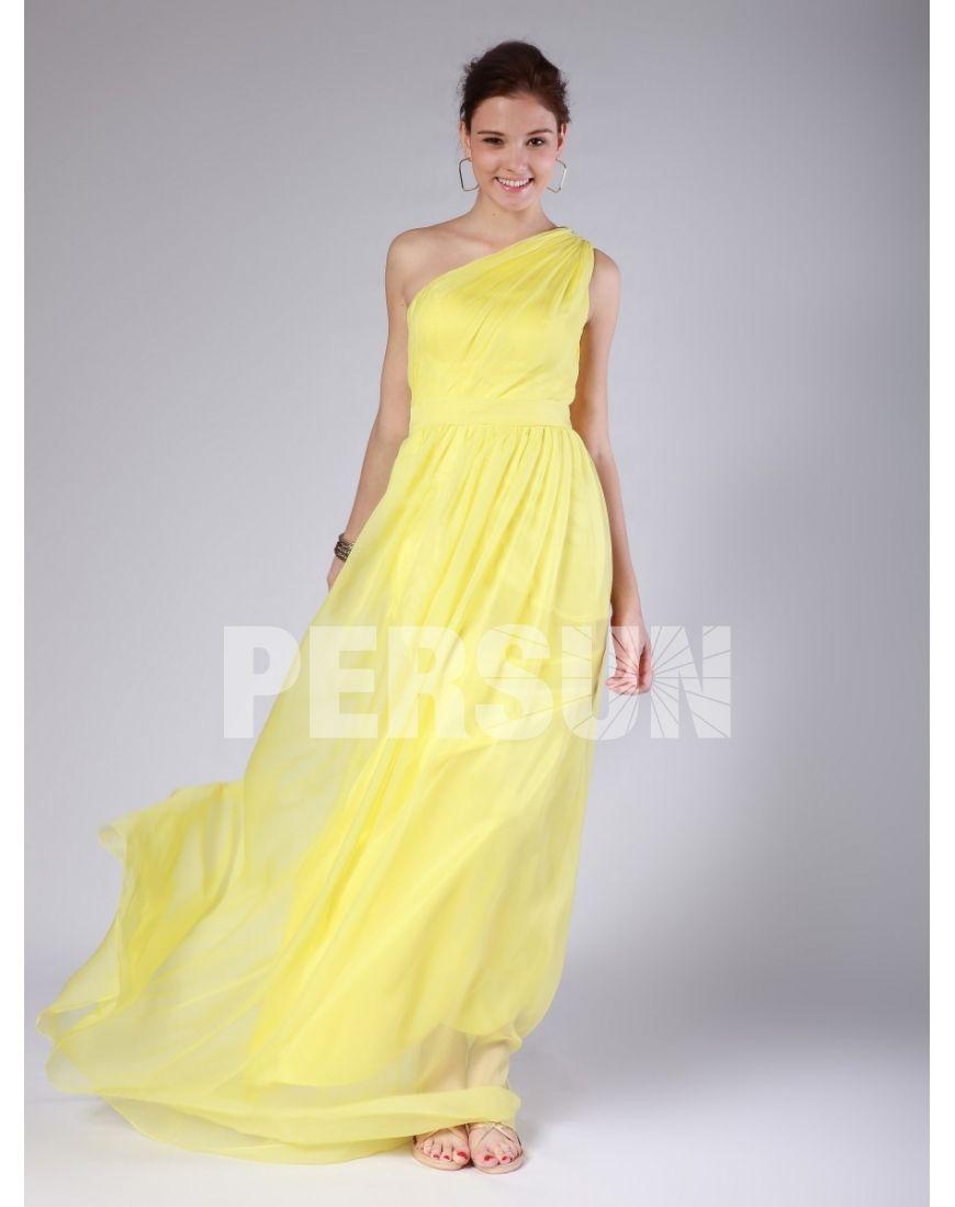 Chiffon one shoulder pleats aline yellow bridesmaid dress on sale