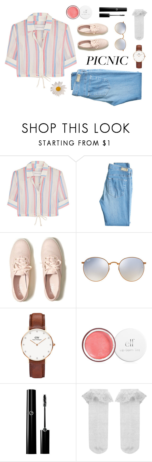 """Sunshine"" by yvonnestrahovskii ❤ liked on Polyvore featuring Solid & Striped, AG Adriano Goldschmied, Hollister Co., Ray-Ban, Daniel Wellington and Monsoon"