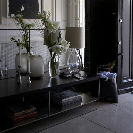 Black Hallway Furniture elegant black hallway | black furniture, interiors and foyers