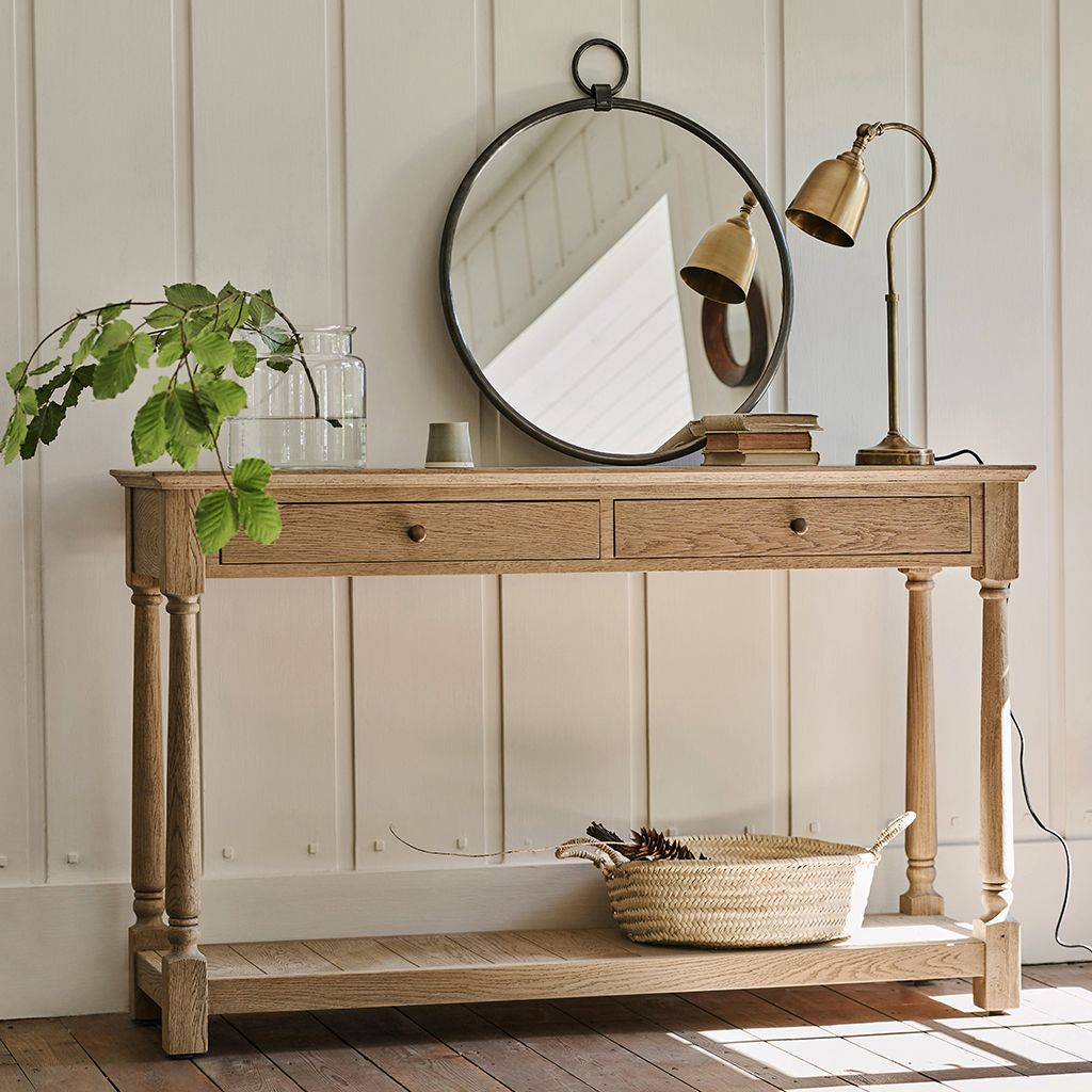 Everett Oak Console Table Oak Consoles Console Table