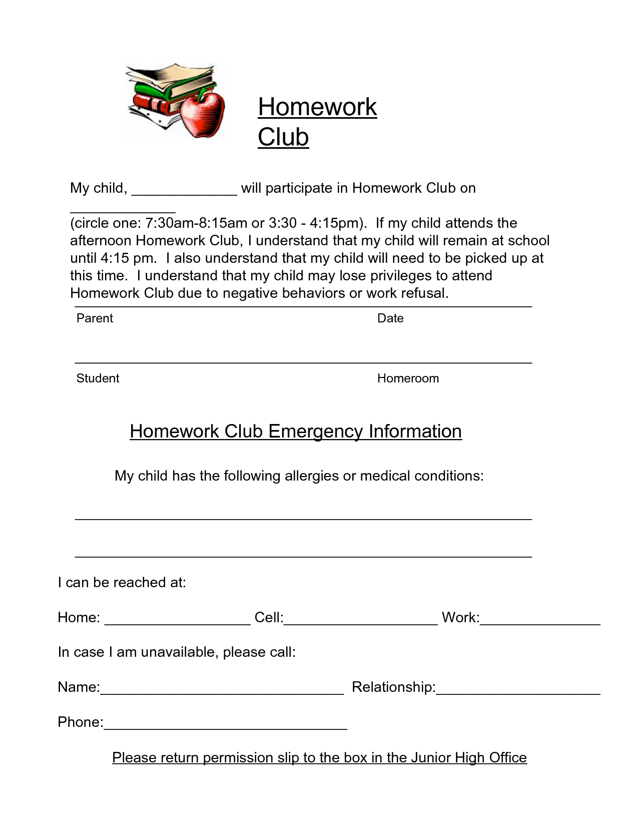 permission slip sample for club