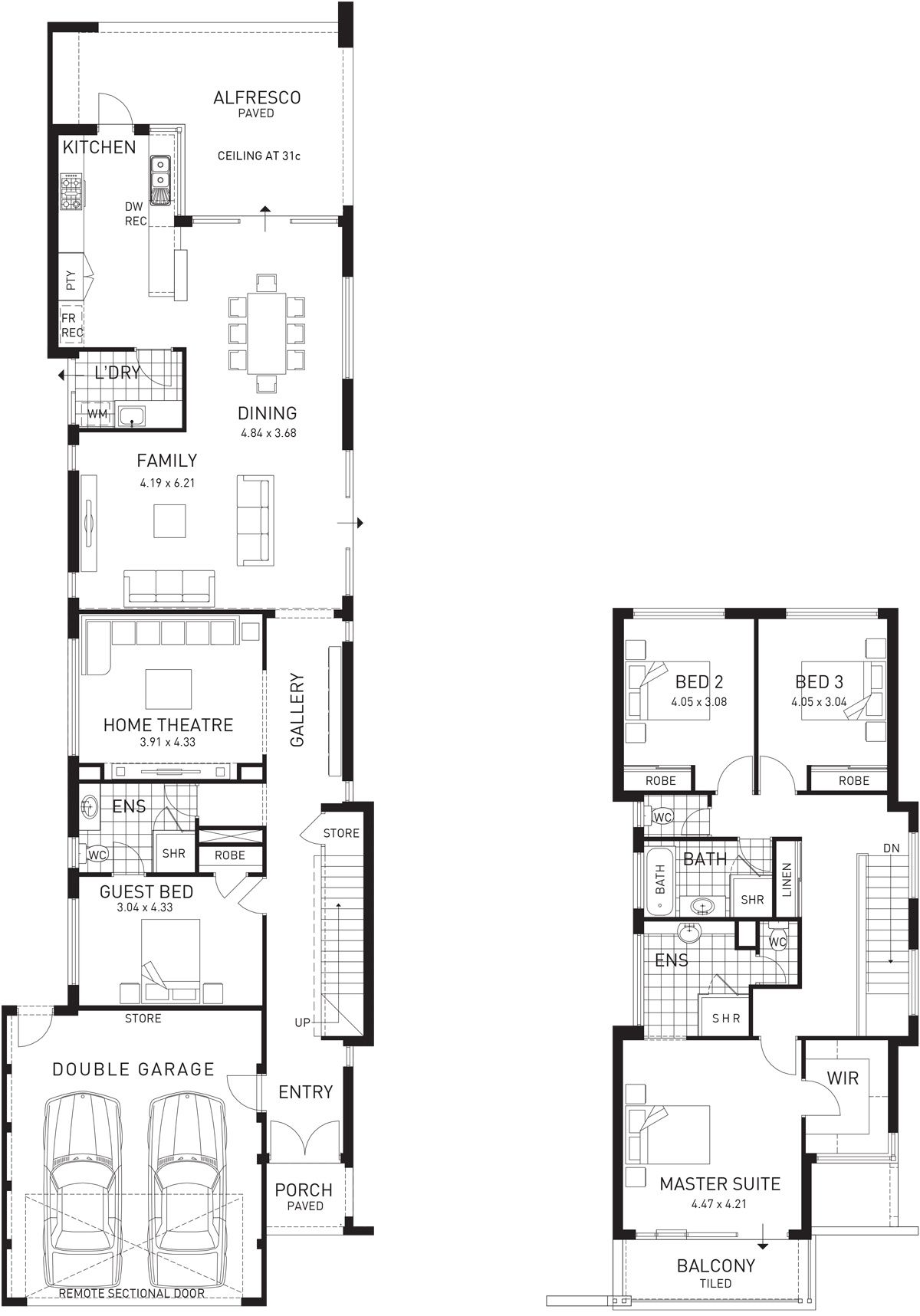 Fusion double storey floor plan wa narrow house plans two story house plans
