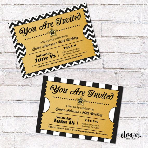 Hollywood ticket invitation hollywood or film party invite digital host a night in hollywood and add some glitz and glamour to get your guests excited solutioingenieria Images