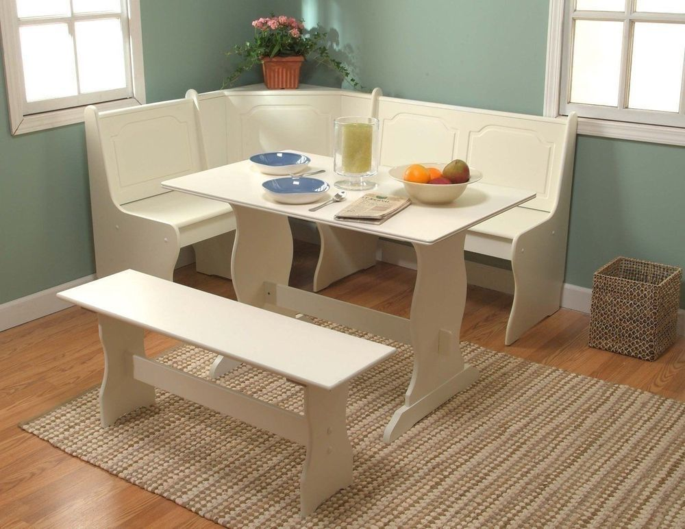 3 Pc White Wooden Breakfast Nook Dining Set Corner Booth Bench Kitchen  Table NEW #Unknown