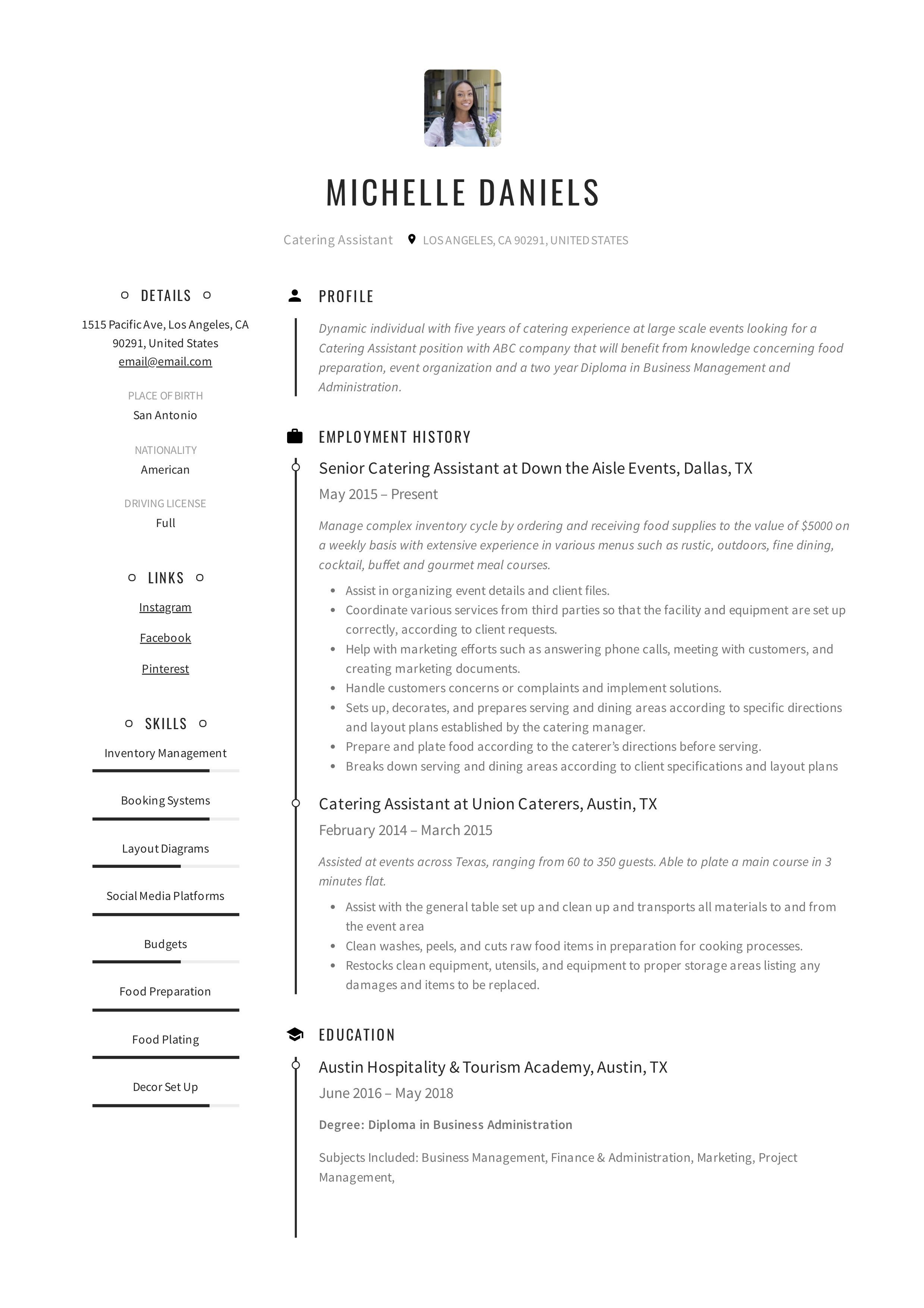 Catering Assistant Resume Example Resume Examples Resume Cv Template