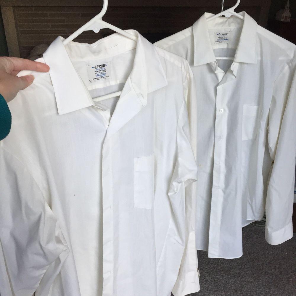 Set 2 Vintage Arrow Decton White Dress Shirt Sanforized Plus Rockabilly L Ebay White Shirt Dress Vintage Clothing Men White Dress