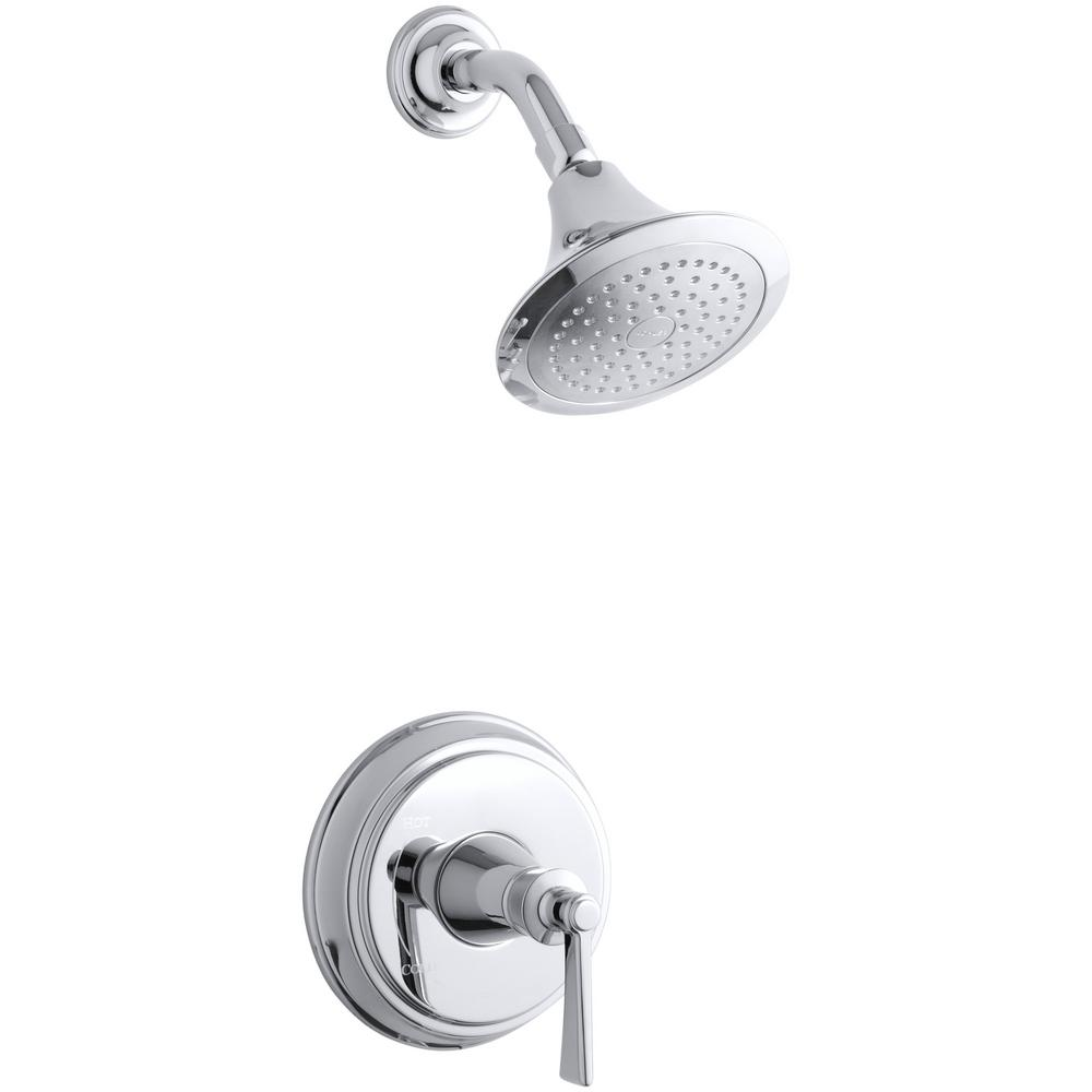 KOHLER Archer 1-Spray 6.5 in. 2.5 GPM Fixed Shower Head with Lever ...