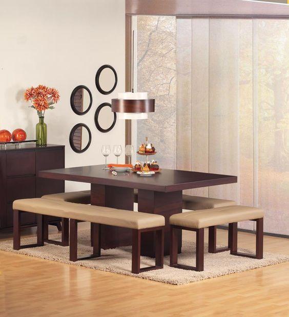 Comedores con bancas salas peque as bancos comedor for Muebles comedores pequenos