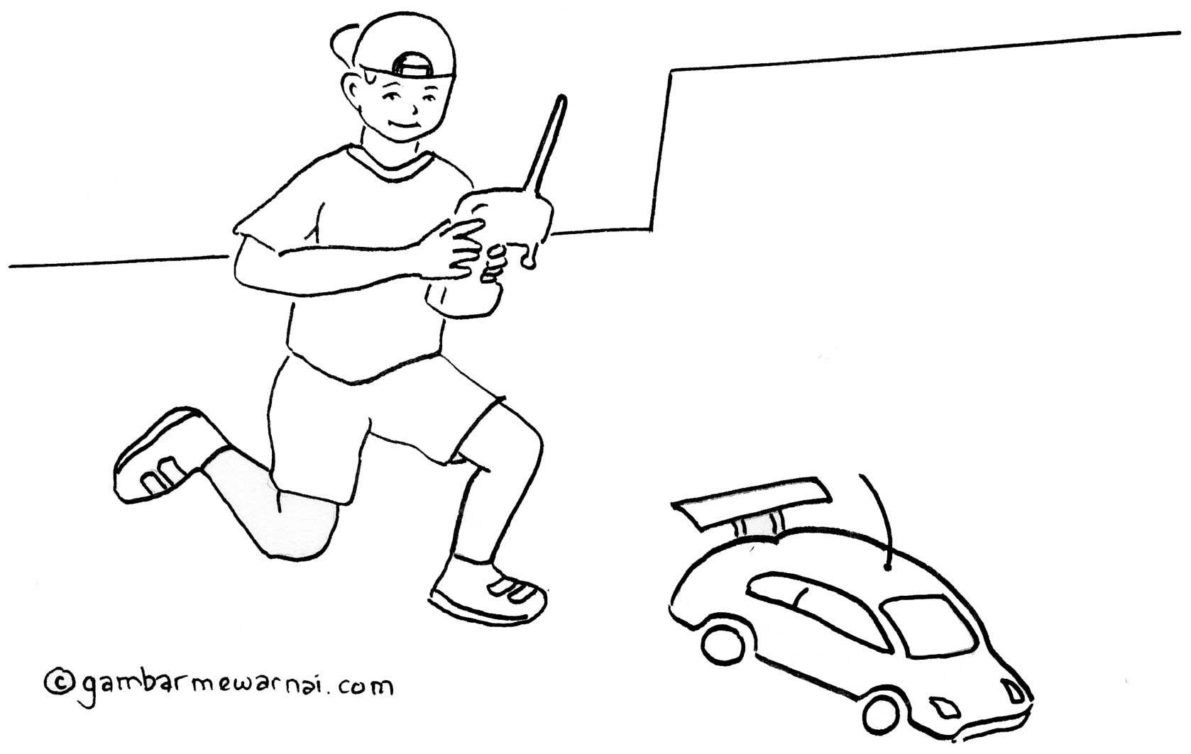 Gambar Mewarnai Anak Bermain Mobil Remote Control Coloring Pages