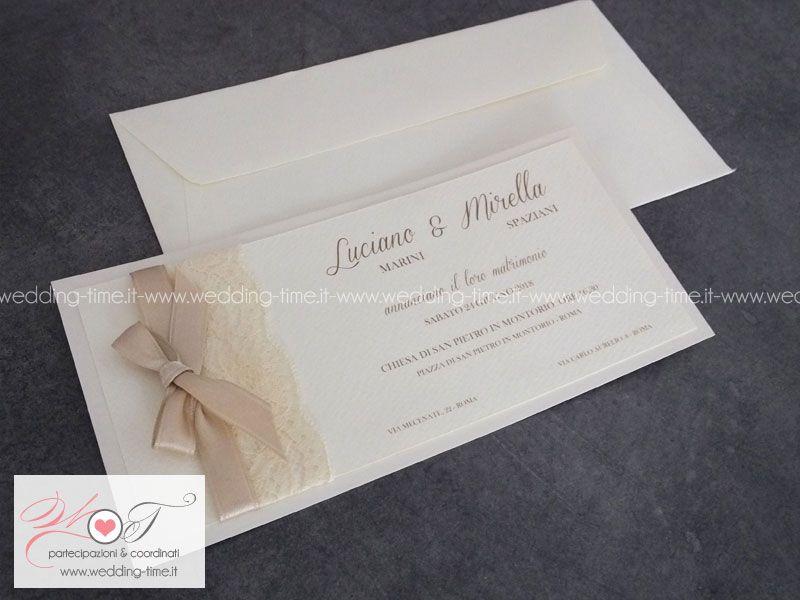 Partecipazione Matrimonio Elegante Sui Toni Dell Avorio Con Pizzo E Nastro Con Fiocco Matrimonio Matrimonio Elegante Partecipazione