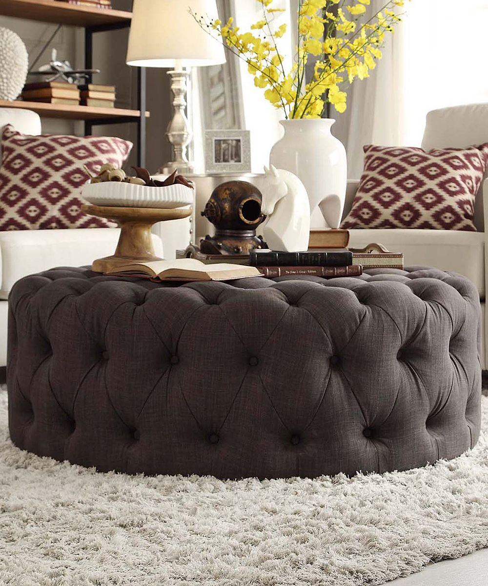 HomeBelle Dark Gray Montvale Round Cocktail Ottoman