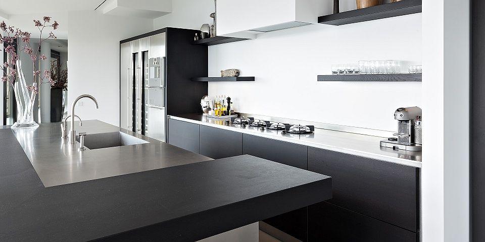 Hou je van een strakke keuken deze super moderne keuken is een pracht item het keukeneiland - Moderne amerikaanse keuken ...