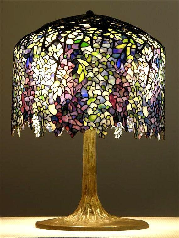 Tiffany Lamp Purple And White Wisteria Tiffany Style Lamp Tiffany Lamps Art Nouveau Lamps