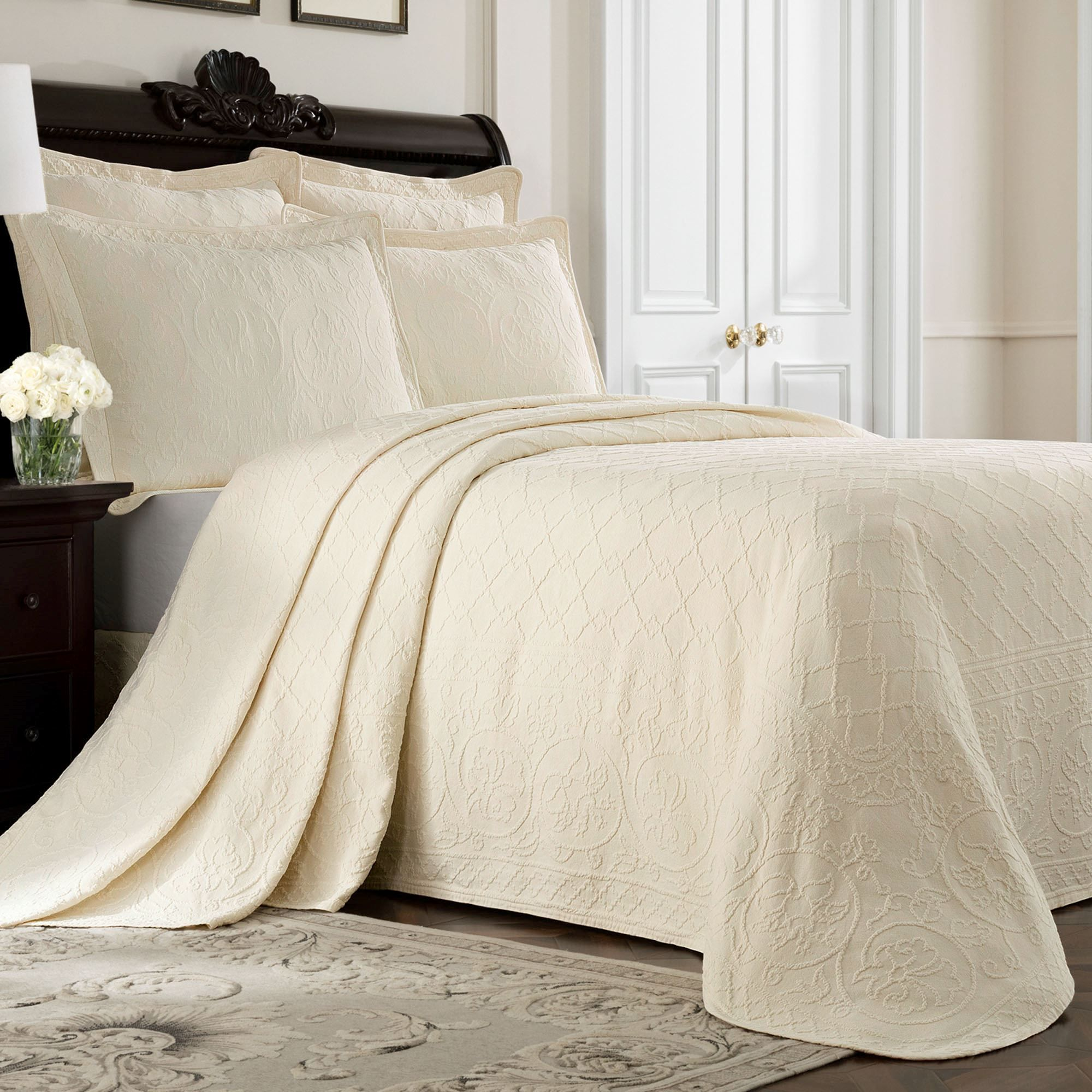 bedding set shop coverlet by pure bed king buy cotton bedspread quilt matelasse white size pieces inches aivedo