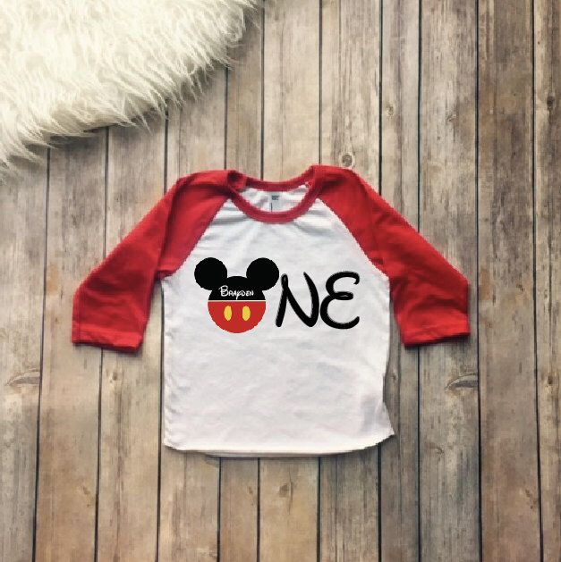 One Year Old Birthday Shirt Mickey Mouse Disney First