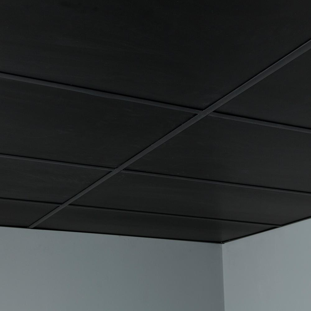 Genesis 2 Ft X 4 Ft Smooth Pro Black Ceiling Tile 745 07 The Home Depot In 2020 Black Ceiling Black Ceiling Tiles Black Drop Ceiling