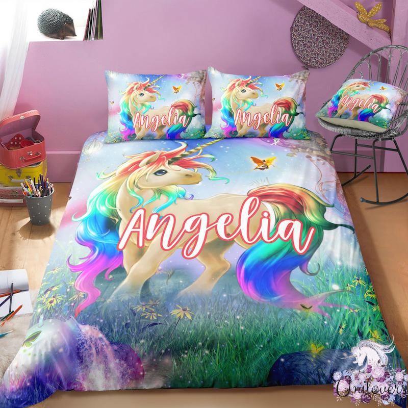 B2 Customize Unicorn Bedding Set Unicorn Bed Set Unicorn