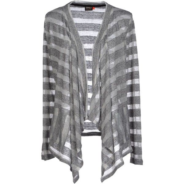 Only Cardigan ($41) ❤ liked on Polyvore featuring tops, cardigans, grey, gray top, stripe top, long sleeve tops, long sleeve striped top and stripe cardigan