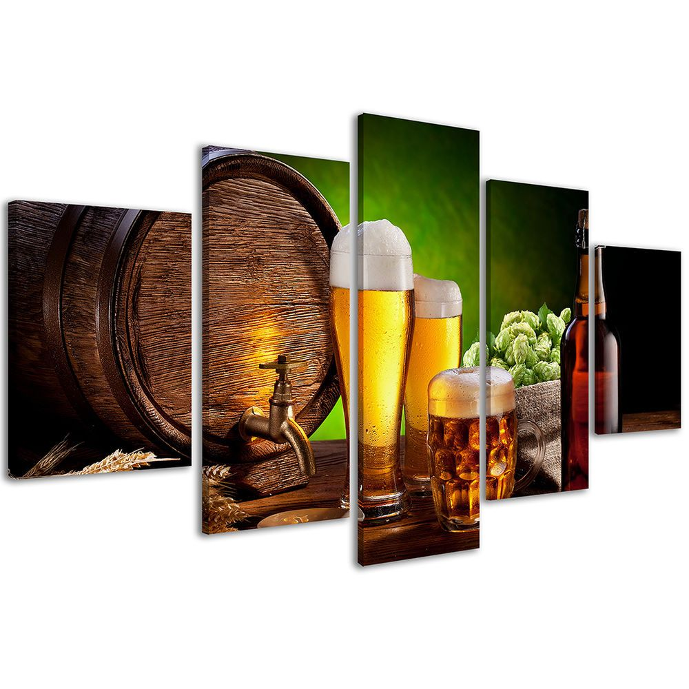 Stampe su Tela 200 x 90 cm Quadri Moderni XXL Birra Beer Arredamento Pub #220