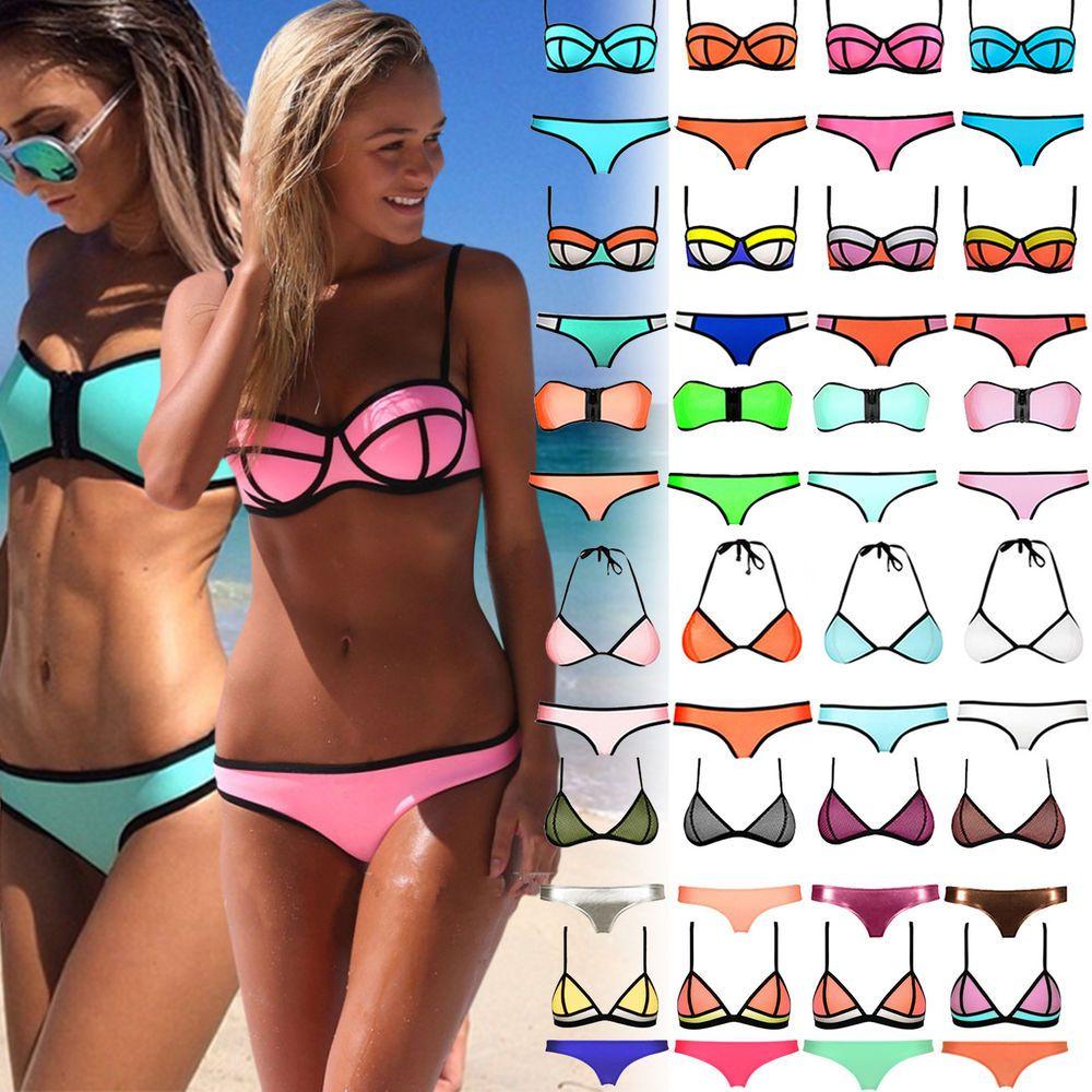 4b36e8b9306 Sexy Women Waterproof Neoprene Triangle Bikini Push-up Padded Swimsuit  Swimwear!