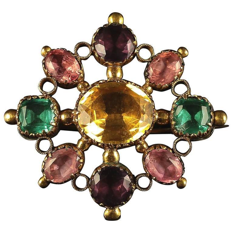 Vintage Paste Stones Vintage Gold Paste Brooch