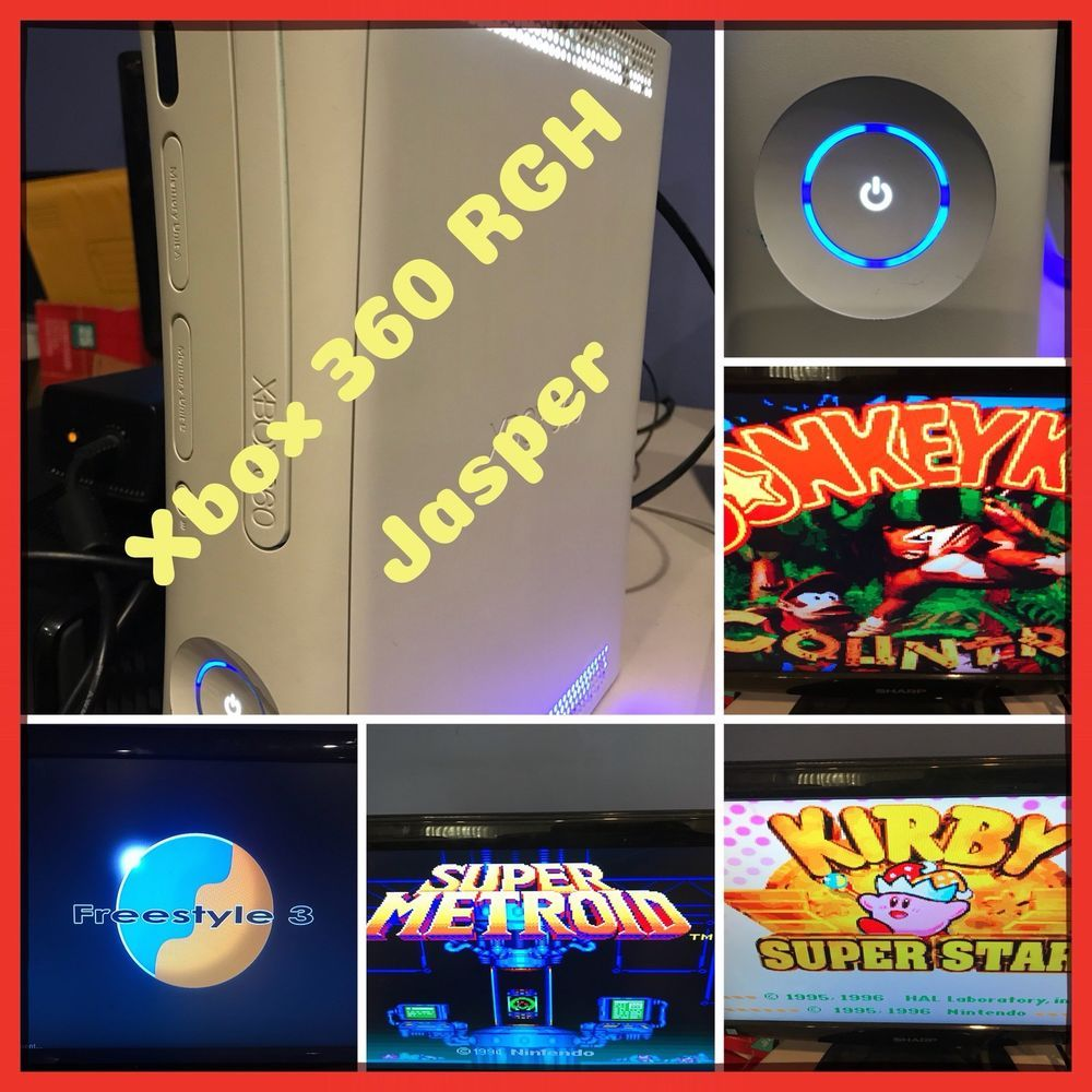 White RGH Jasper W/20GB HDD On Current Dash- NES, SNES, Sega