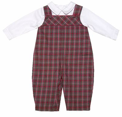 66475db8d284f Petit Ami Baby Boys Red Holiday Plaid Longall with Shirt