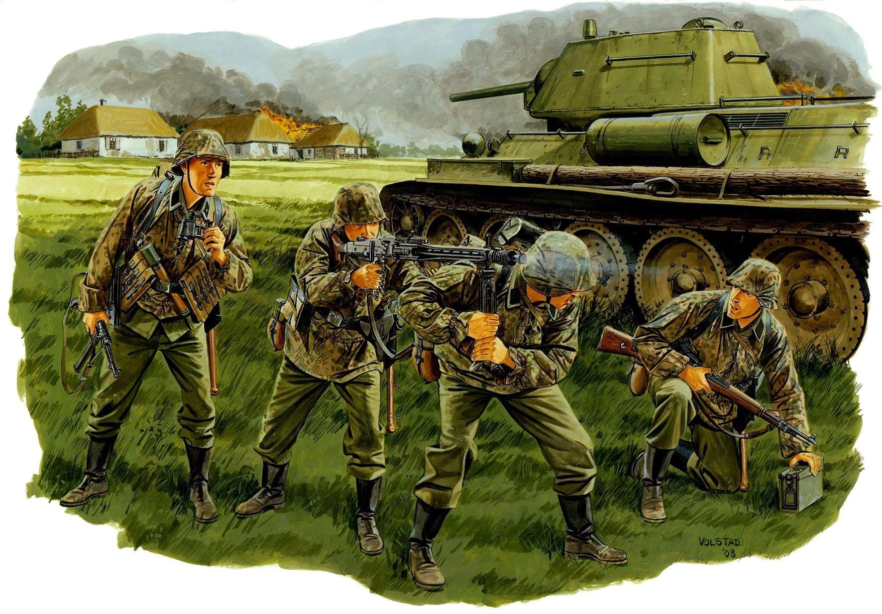 Batalla de Kursk, verano de 1.943. Ron Volstad Panzergrenadiere de la Leibstandarte abriendo fuego con su MG-42, al lado un T-34/76 modelo 1943 con pasamanos en la torreta que fue diseñada para que la infantes mecanizados puedan asirse a ella, esto era una necesidad en el campo de batalla debido a la falta de vehículos blindados para la infantería en el Ejercito Rojo. Más en www.elgrancapitan.org/foro/