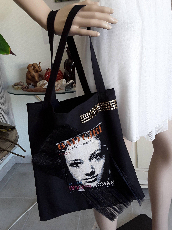 Tote Bag Du Soir Cabas Noir Sac A Main Applique Bad Girl En Tisse Sur De L Organza Noir Froisse De La Boutique Aufeminincre Tote Bag Bags Reusable Tote Bags