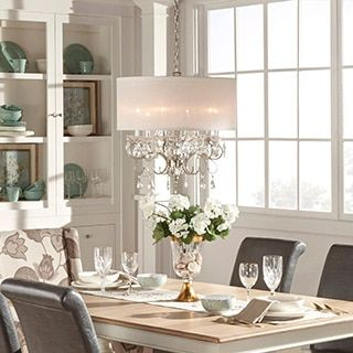 Silver Mist Hanging Crystal Drum Shade Chandelier By INSPIRE Q Classic Chandeliers For Dining RoomDining