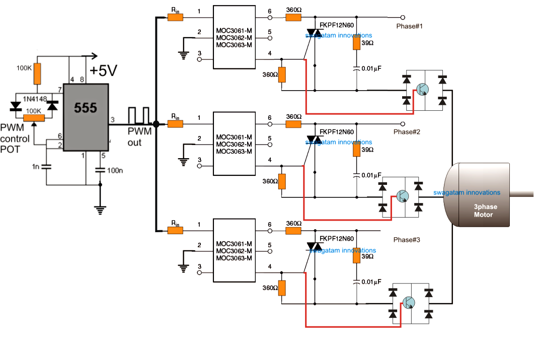3 Phase Induction Motor Speed Controller Circuit | Electronic ...
