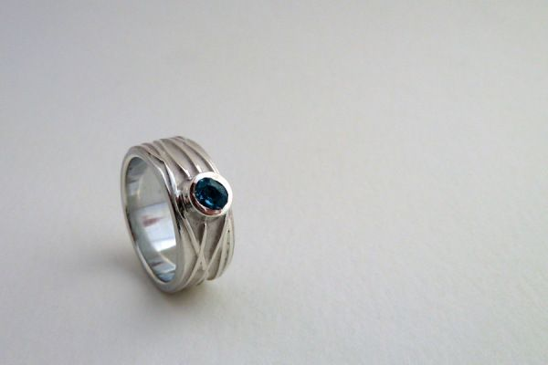 Topaz and Silver Braided River Engagement Ring.  Becca Williams Jewellery Designer : Silversmith