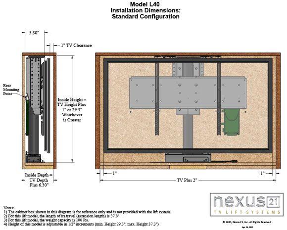 Tv Lift Mechanisms Hide Your Tv In Plain Sight Nexus 21 Tv Lift Mechanism Tv Lift Cabinet Hidden Tv