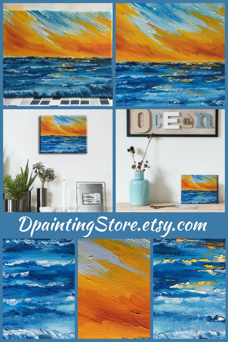 Abstract oil painting blue yellow art living room wall decor sea housewarming  and sky original canvas  also rh pinterest