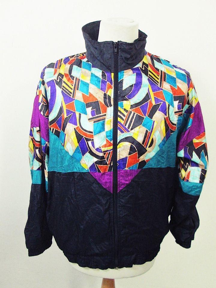 PLUS Size 90s Color block Bomber Jacket Vintage Shell Tracksuit Bomber Sports Top XXL