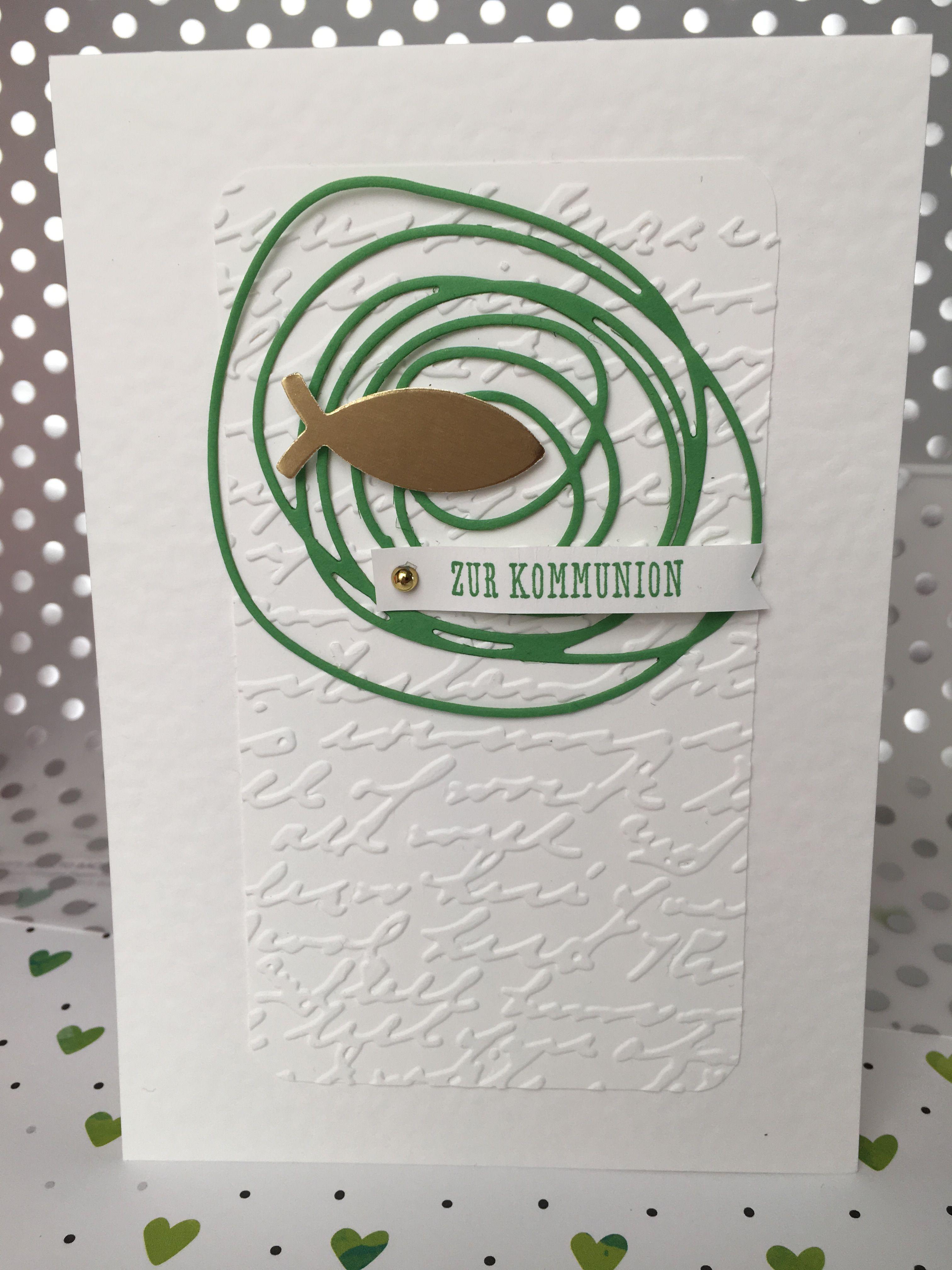 Kommunionkarte. Flüsterweiß und gartengrün.