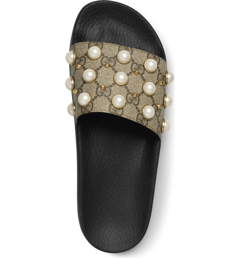 f4cc0472 Main Image - Gucci Pursuit Imitation Pearl Embellished Slide Sandal ...