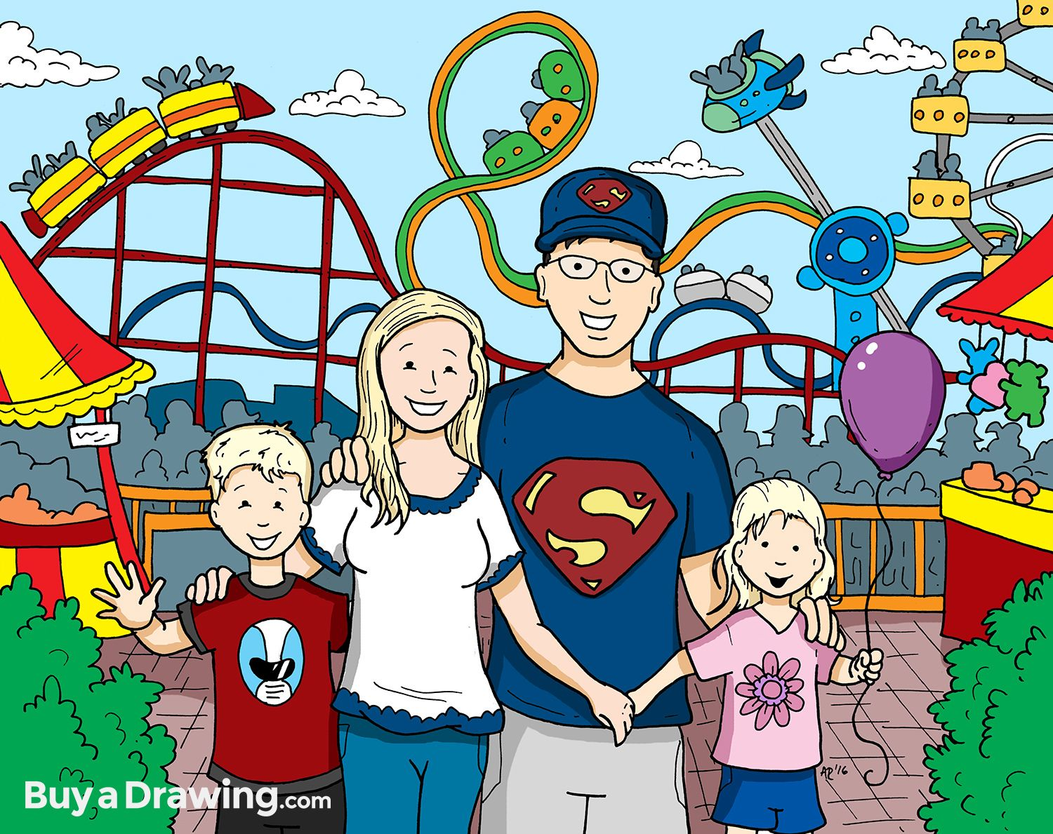 A cute cartoon portrait of a family of four at an ...