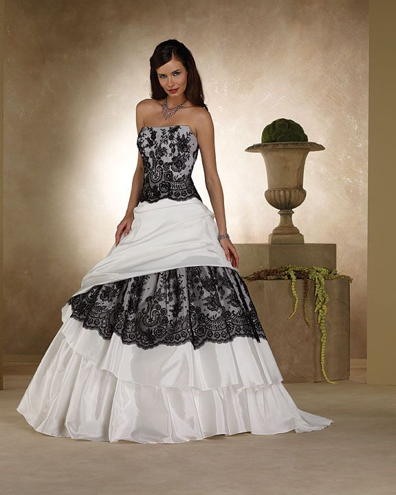 lace black n white wedding dresses | heart wedding dress black and ...