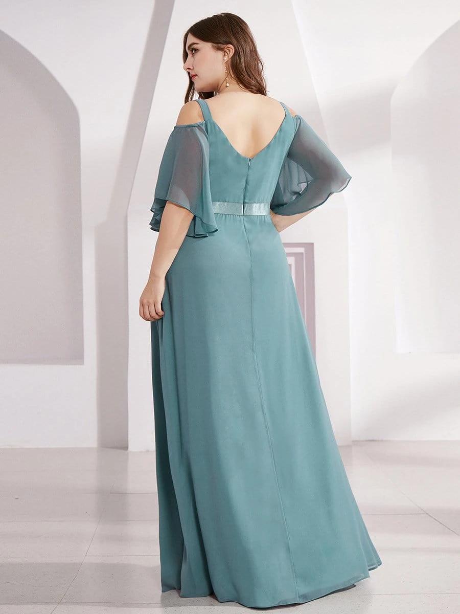 Plus Size Women's Off Shoulder Floor Length Bridesmaid