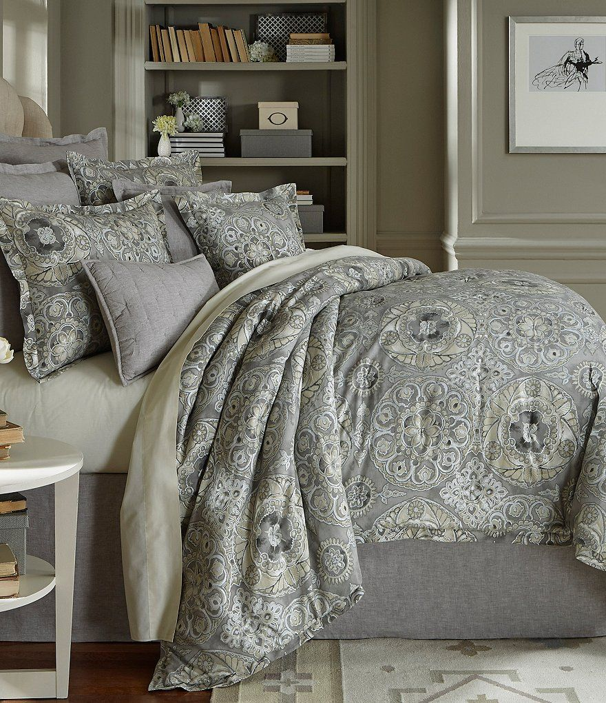southern living kingsley metallic medallion cotton  linen  - southern living kingsley metallic medallion cotton  linen comforter miniset