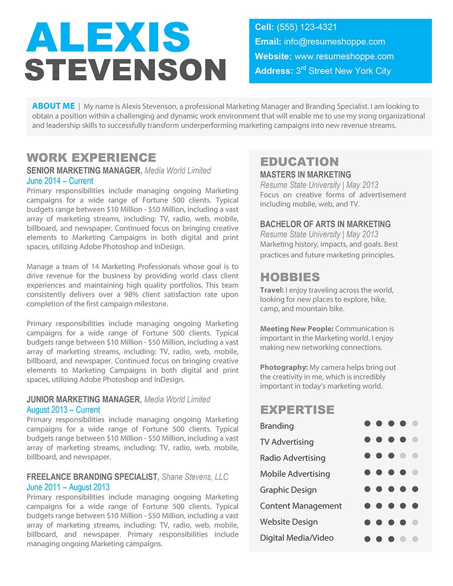 The Alexis Creative Resume - Resume Shoppe | Creative resume ...