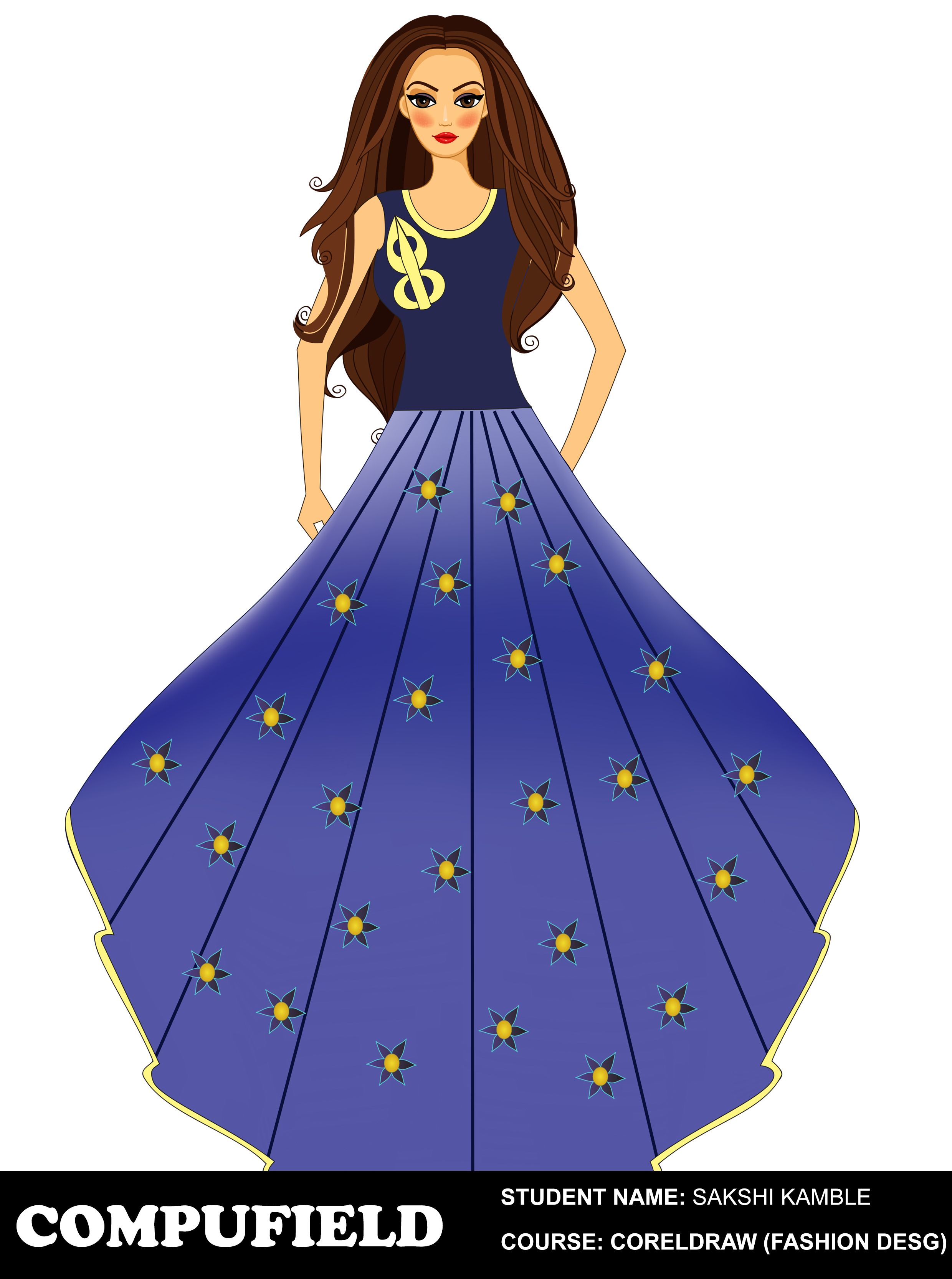 Fashiondesigning Project Done By Our Student Ms Shakshi Kamble At Compufield Computer Institute Coreldraw Fas Fashion Design Clothes Design Market Design